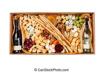 French Wine Cheese Carton Box Isolated Delivery