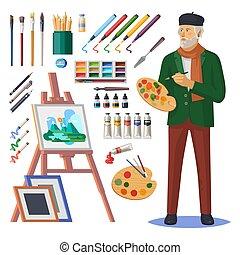 frenchman, arte, pintura, pintor, artista, hombre, o