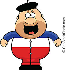 frenchman, caricatura, feliz