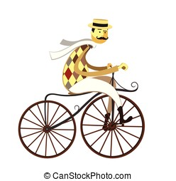 Frenchman cyclist and American Velocipede - retro bicycle...
