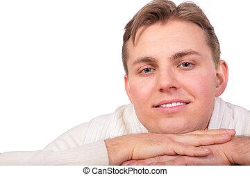 frendly, homem jovem, rosto, close-up