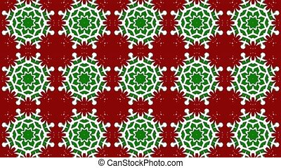 A frenetic, bombastic, energetic bombardment of fast-paced, quickly-changing kaleidoscopic patterns in Christmas colors of red, green and white at times resembling snowflakes or Christmas wrapping paper design patterns. Loops seamlessly.