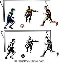 frente, ação, futebol, -, meta