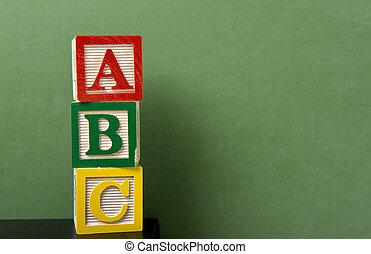 frente, abc, blocos, chalkboard