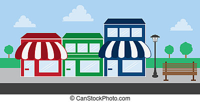 frente, alameda, tienda, tira