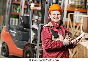 frente, armazém, forklift, trabalhador
