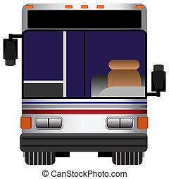 frente, autobús, vista