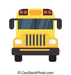 frente, autocarro, escola