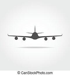 frente, avião, ícone