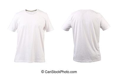 frente, back., branca, t-shirt.