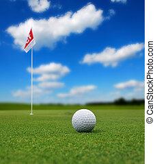 frente, bandera, pelota, golf