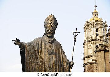 frente, basílica, estatua, papa