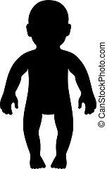 frente, bebê, comprimento, vista cheia