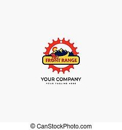 frente, bicicleta, gama, evento, logotipo, montanha