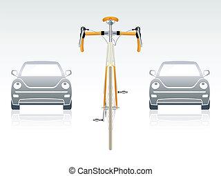 frente, bicicleta, vista