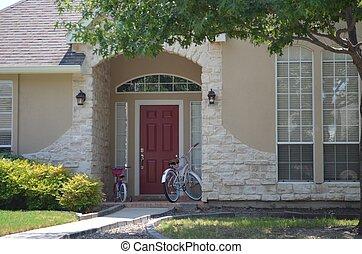 frente, bicycles, porta