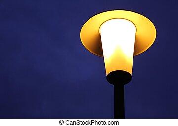 frente, blueish, nuvens, streetlamp