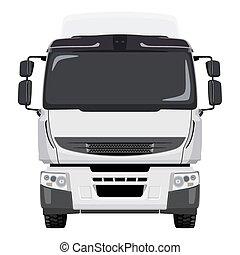 frente, branca, caminhão