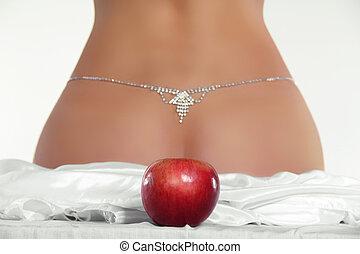 frente, bundas, maçã, femininas, vermelho