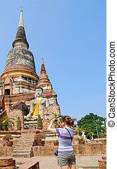 frente, cámara, budhist, turista, stupa