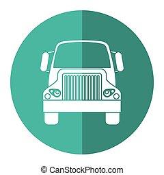 frente, caminhão, transporte, comercial, veículo, verde, círculo