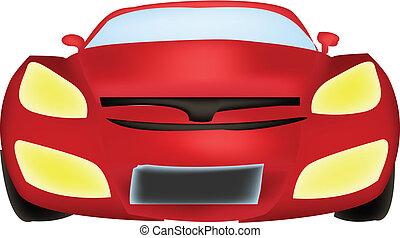 frente, car, vetorial, vista