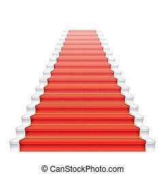frente, carpet., escadaria, vermelho