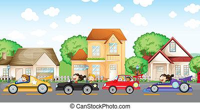frente, carreras de automóvil, vecindad, adolescentes