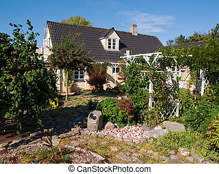 frente, casa, ajardinado, jarda, jardim