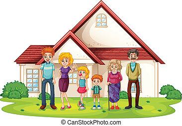 frente, casa, grande, familia , su