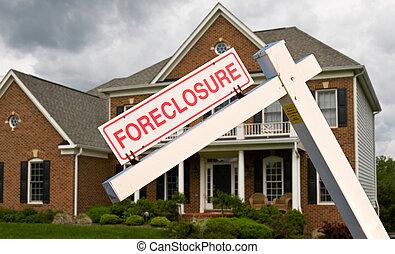 frente, casa, moderno, ejecución hipoteca, señal