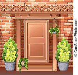 frente, casa, puerta