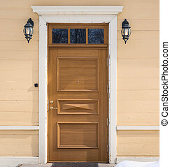 frente, casa, viejo, puerta, composición