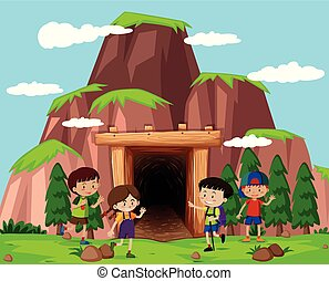 frente, caverna, crianças, feliz