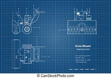 frente, cianotipo, cima, blower., contorno, lado, nieve