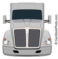 frente, cinzento, caminhão