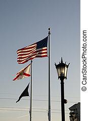 frente, ciudad, banderas, vestíbulo