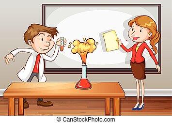 frente, classe ciência, professores, ensinando
