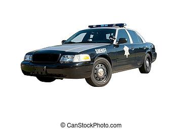 frente, coche, ángulo, alguacil