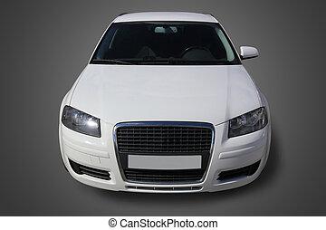 frente, coche, blanco, vista