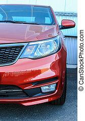 frente, coche, moderno, rojo, vista