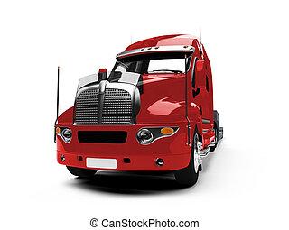 frente, coche, portador, camión, vista