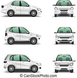 frente, coches, vector, vista lateral