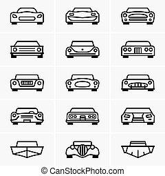 frente, coches, vista