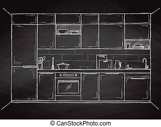 frente, cocina, bosquejo, vector, vista.