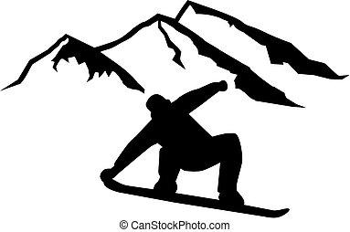 frente, colinas, dirigindo, snowboarder