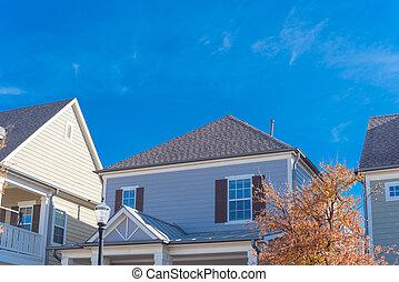 frente, color casita, árbol, otoño, estilo, casa, yarda, ...