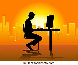 frente, computador, homem