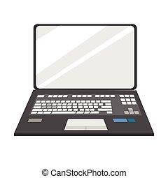 frente, computador portatil, cuaderno, vista
