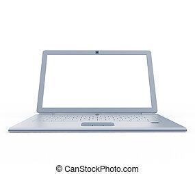 frente, computador portatil, plata, vista